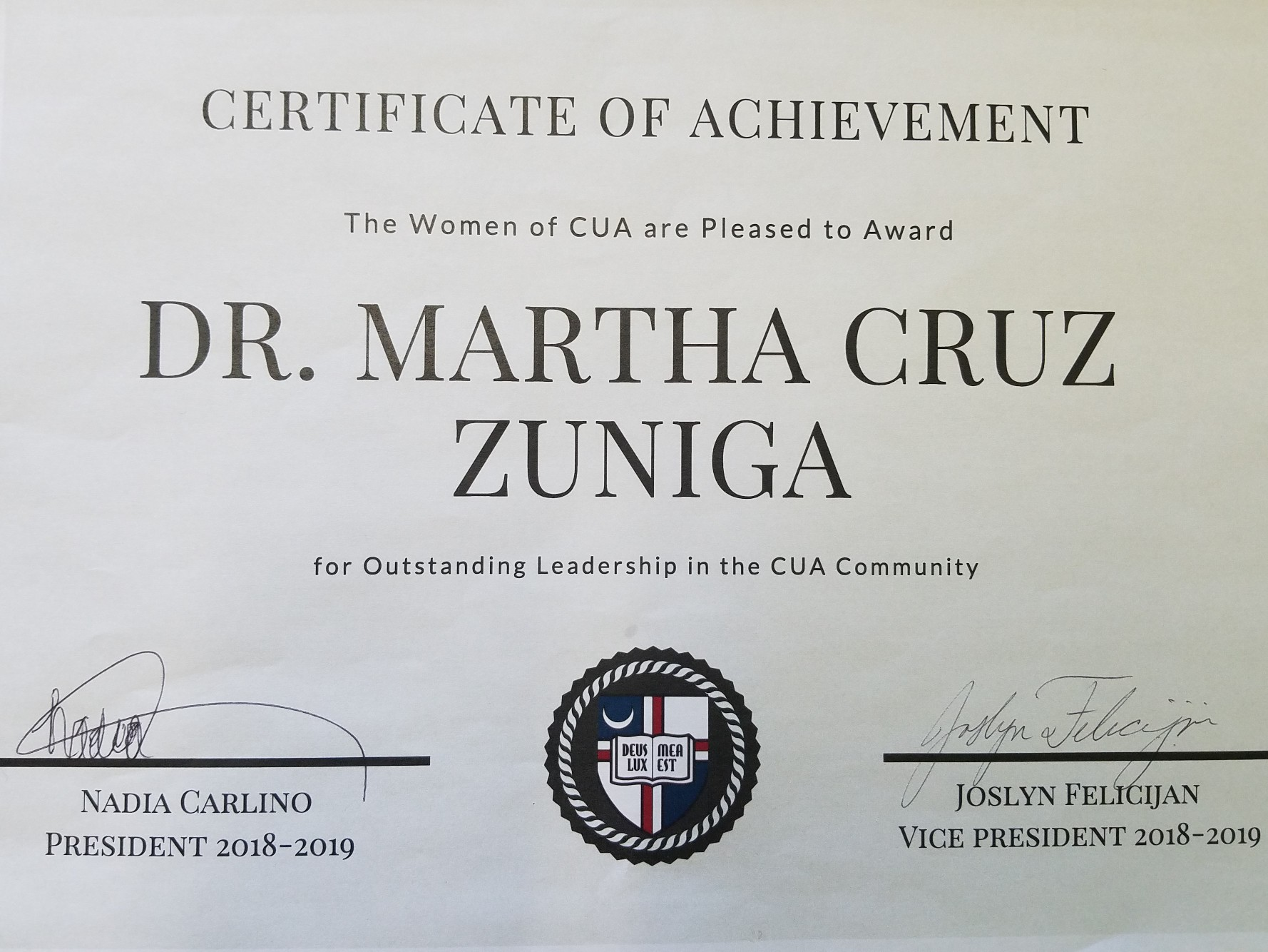 Department of Economics Professors Recognized by The Women of CUA